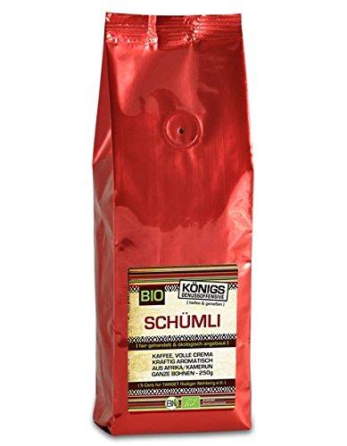 KÖNIGs Genussoffensive Fairtrade Kaffee, Schümli Kaffee ganze Kaffeebohnen, 70% Momia/Hausmischung - 30% Espresso (Kamerun), 250g - Bremer Gewürzhandel