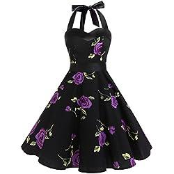 Dresstells® Halter 50s Rockabilly Polka Dots Audrey Dress Retro Cocktail Dress PurpleFlower XS