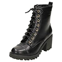 Koi Womens Lace Up Boots Chunky Heel Ankle