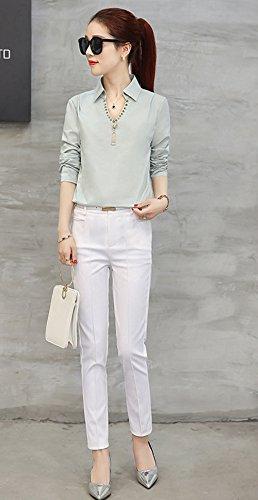 Blansdi Chemises Femme Elégant mousseline de soie Sexy Col V à manches longues Slim Blouses Mode féminine Bleu