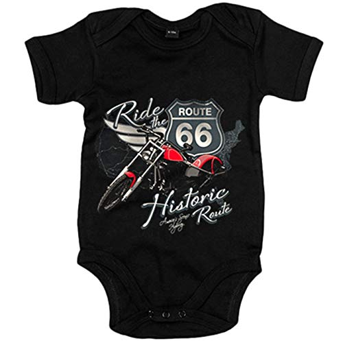 Body bebé Ride The Route 66 motero - Negro, 6-12 meses
