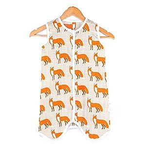 Eastery Bebé Saco De Dormir De Verano Pijamas Sin Mangas para Estilo Simple Niños Pequeños 0.5 TOG Mamelucos para Niños con Pies para Niños Y Niñas Fox XL Tamaño del Cuerpo 85 95 Cm