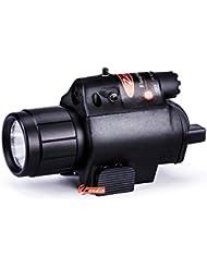 Zeadio Linterna eléctrica LED y Visor de Punto rojo, Composición de 2-en-1 con Adaptador intergrado rápido desmontable para riel de Picatinny / Weaver, FLT-LAS03