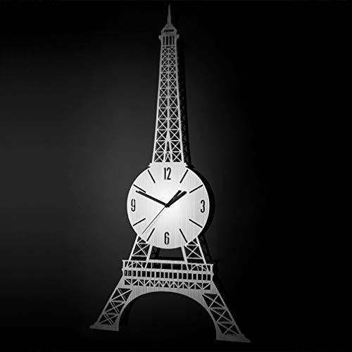 �E Wanduhr 3D, Kreative EuropäIsche Eiffelturm Edelstahl Metall Silent Mode Kunst Dekorative KüChe Wohnzimmer Badezimmer Schlafzimmer BüRo Dekor Geschenk Gold/Silber, Silver ()