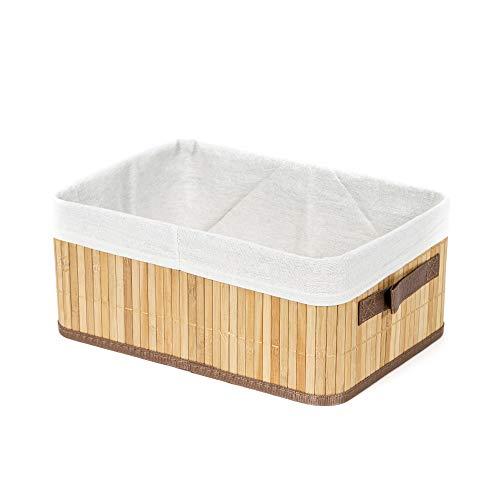 Compactor de bambú/polialgodón Rectangular Cesta para la Ropa Sucia de bambú Plegable, Natural