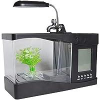 Garneck Mini Acuario Acuario Mini Acuario Mini Acuario con Luz Led de Reloj para Decoración del Hogar de Oficina (Negro)