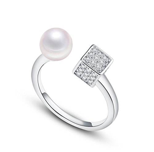 Lazy Cat Ring aus 925 Sterling Silber mit Süßwasser Perle Damenring Verstellbar Perlenring