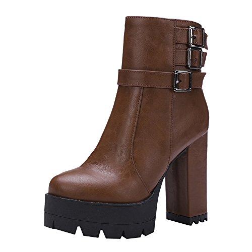 Mee Shoes Damen Reißverschluss Plateau chunky heels Stiefel Braun