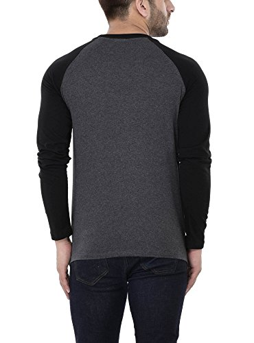 Katso Men's Cotton Long Sleeve Top (Dark Grey, Large)