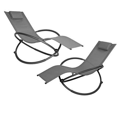 EUGAD 2tlg Schaukelstuhl Gartenliege Gartenschaukelstuhl Schwingstuhl Relaxliege für Terrasse Balkon,Gartenmöbel, Metallgestell + Textilgewebe, Grau