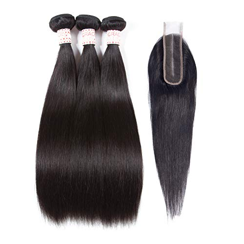 GracePlus Grace Plus Hair Brazilian Straight Hair 3 Bundles With Closure 6×2 Deep Parting Straight Hair Extension With Closure Cheap Human Hair Bundles With Closure Natural Color (12 12 12+10)
