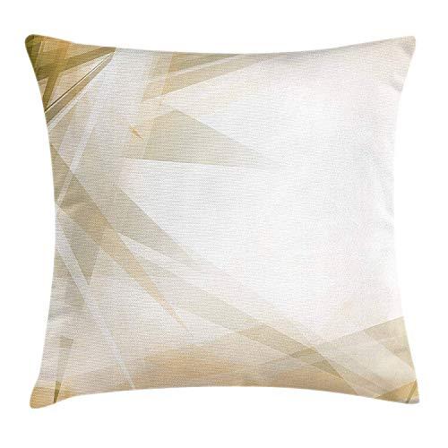 Camel color throw pillow cushion cover, futuristic hi tech composition abstract grunge modern display color rays, decorative square accent pillow case, 18 x 18 inches, green camel white