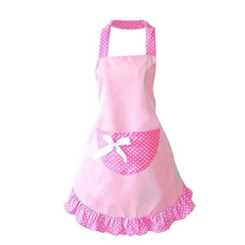 ODJOY-FAN Schürze mit Taschen für Damen,ölbeständig wasserdicht Küchenschürze Süß Mädchen Bowknot Lustig Schürzen Damen Küche Restaurant Schürze Apron (Rosa,1 PC) -