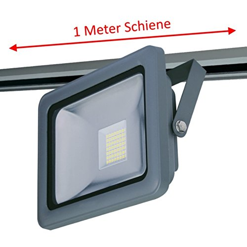Corriente de carril Sets, 2m, 3x LED Foco Gris, endeinspeisung, con LED de strahlern (Elige 20/30/50W, luz blanca fría)