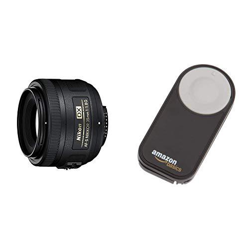 Nikon AF-S DX Nikkor 35mm 1:1,8G Objektiv (52mm Filtergewinde) & AmazonBasics IR-Fernauslöser für Nikon SLR-Digitalkameras