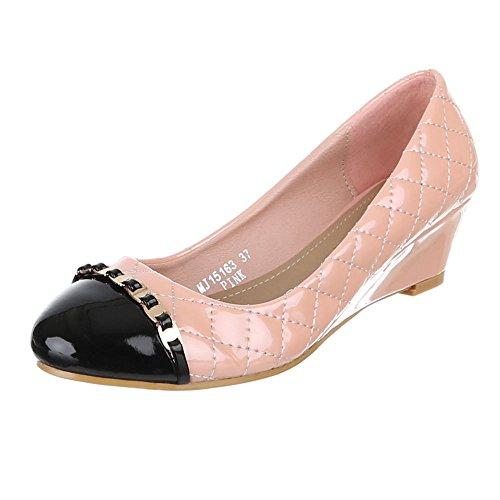 Damen Schuhe, MJ15163, PUMPS, KEIL, Synthetik in hochwertiger Lacklederoptik , Rosa, Gr 38 (Keds Karierte Schuh)