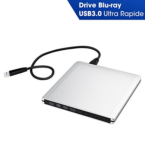 【Version Ultra-slim】Lecteur/Graveur Blu ray Externe USB3.0 TOPELEK...