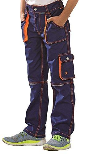 6111 Planam Basalt Junior Bundhose in verschiedenen Farben, Arbeitshose für Kinder (122/128, marine-orange)