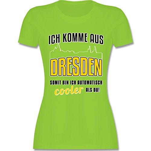 Städte - Ich komme aus Dresden - tailliertes Premium T-Shirt mit Rundhalsausschnitt für Damen Hellgrün