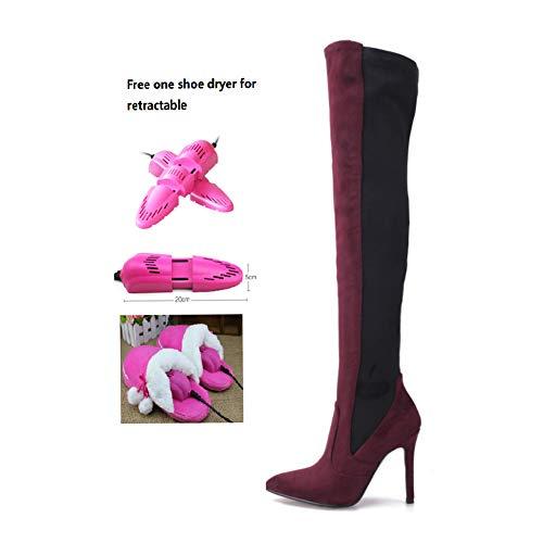 BWCX Damen Wildleder-Overknee-Stiefel, 11 cm hoher Absatz, inklusive ausziehbarem Schuhtrockner, Weinrot, 37