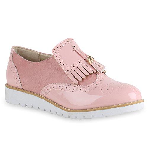 Stiefelparadies Damen Brogues Lack Halb Profilsohle Fransen Leder-Optik Damen Schuhe 131016 Rosa Rosa 40 | Flandell (Damen Fransen Leder)