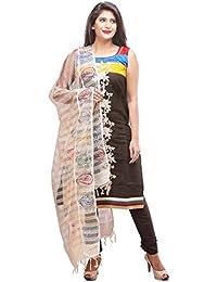 Manmandir Cotton Silk Brown colour Salwar Kameez with Kora-silk Dupatta