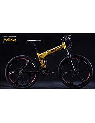 ZYPMM bicicleta de montaña / ciclismo 27 (24) (21) Velocidad de 26 pulgadas plegable / 700CC unisex adulto / hombres / niño unisex SHIMANO EF-51-8 Disco de freno ( Color : Amarillo , tamaño : Six spokes )