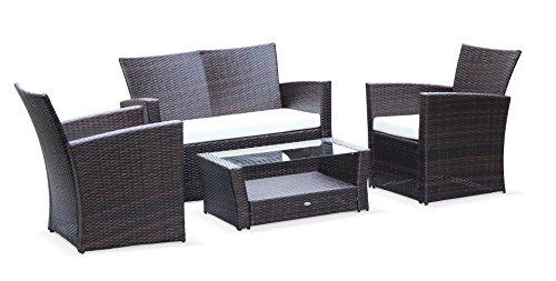 Alice's Garden - Muebles de jardin, conjunto sofa de exterior, Marron Crudo, 4 plazas, resina trenzada - Asti - Alice's Garden