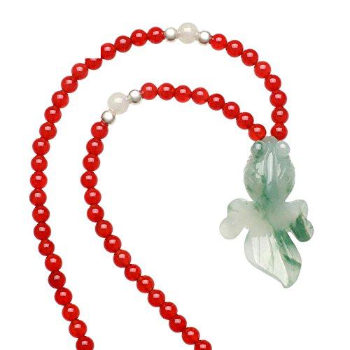 pesce Jade pendente/Onyx Bead Necklace - Verde Collana Cuore Jade