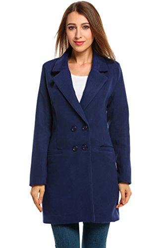 HOTOUCH donne V-Neck manica lunga Solid doppio cappotto di lana petto blu scuro