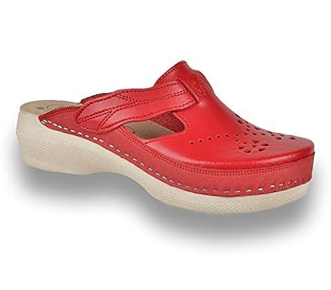 LEON PU156 Komfortschuhe Lederschuhe Pantolette Clog Damen, Rot, EU 41