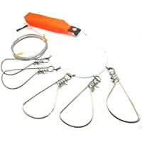 NoyoKere 5 broches de acero inoxidable Cuerdas Flotador Stringer Fishing Lock Cuerda de pesca Accesorios