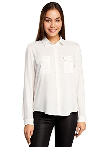 oodji Ultra Damen Viskose-Bluse Basic mit Brusttaschen