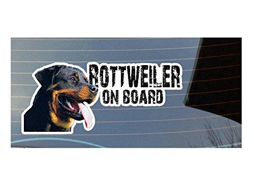 Rottweiler On Board Auto Fenster, Bumper, Panel Aufkleber–weiß (Pfote Drucken Haustier-schüssel)