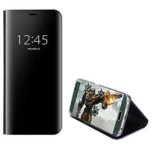xinyunew Xiaomi Redmi Note 5 Pro Hülle Schutzhülle,360 Grad +Displayschutzfolie Panzerglas Schutzfolie Spiegel Flip Ständer Book View Mirror Cover Tasche Etui Shell für Redmi Note 5 Pro Schwarz