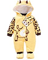 Unisex Baby Cartoon Printed Warm Romper Clothes Long Sleeve Bodysuit for 0-9M