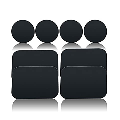 Volport 8 Pack Replacement Mount Metal Plate Kits with Adhesive for All Magnetic Car Mount Cradle Cellphone Holder, 4 Rectangular and 4 Round, Black