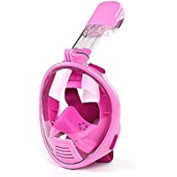 Leaning Tech® Set da snorkeling boccaglio maschera per bambini maschera maschera con boccaglio maschera piena con adattatore di montaggio per GoPro, rosa