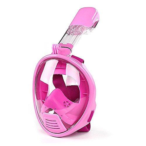 LeaningTech® Full Face Schnorchelset Schnorchelmaske für kinder Taucherbrille Tauchermaske mit schnorchel Vollmaske für GoPro SJCAM Xiaomi Yi Kamera Tauchen Set , ein Geschenk für Kinder (Rosa)