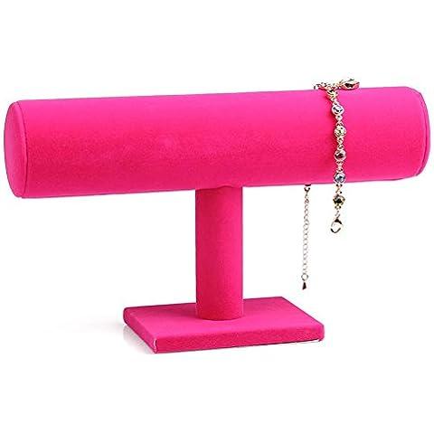 Etruke un Tier velluto braccialetto orologio gioielli Display Stand Porta Pink - Braccialetto Jewelry Display Stand