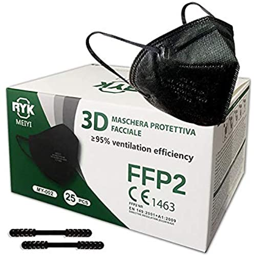 HOME KOKO LOOK 25 Mascherine nere FFP2 Certificate CE 1463 BFE≥95 Mascherina DPI conforme EN 149:2001+A1:2009 confezionata singolarmente