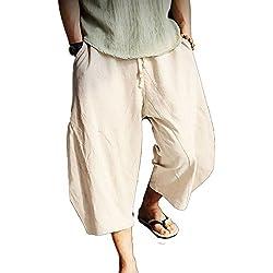 Pantalones de Playa para Hombres Boho Pantalones de Verano Suaves y Transpirables Pantalones Sueltos con cordón Pantalones DE 3/4 años para Hombres Pantalones de Color sólido 6 Colores M-4XL