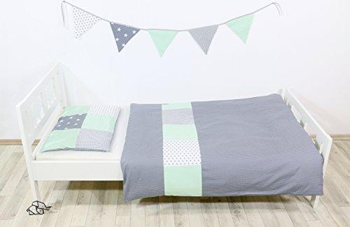 BEBILINO ® Kinderbettwäsche Mint Grau (2 tlg. Baby Bettset: Kissenbezug 40x60 cm & Bettdeckenbezug 100x135 cm, Motiv: Sterne, Patchwork Design)