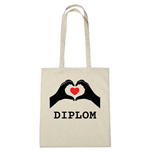 JOllify Diploma Borsa di cotone b6099 schwarz: New York, London, Paris, Tokyo natur: Hände Herz