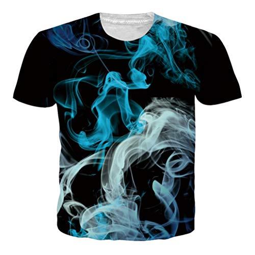 Idgeatim Damen Männer Universum Weihnachten T-Shirts 3D Druck Kurzarm Weihnachten T-Shirts Dinosaurier Casual Top Tees