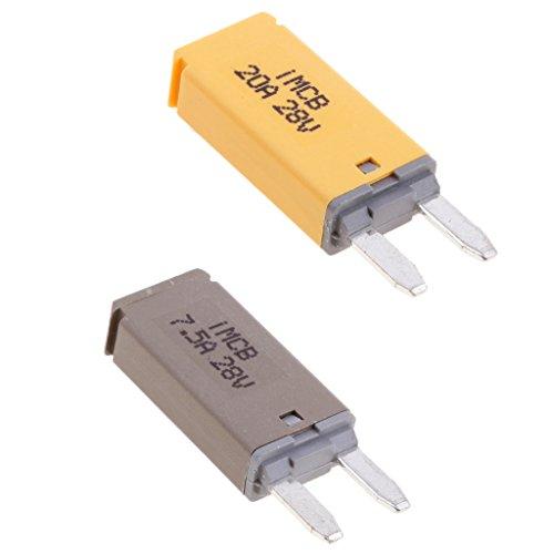 Mini Circuit Breaker (Sharplace Auto ATM Mini Sicherungen Flachsicherung Manuell Reset Circuit Breaker Fuse Schutzschalter - 2 Stück 7.5A+20A)