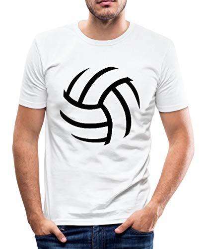 Volleyball Männer Slim Fit T-Shirt, L, Weiß