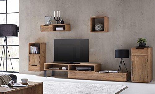 Woodkings Wohnwand Auckland 5teilig Akazie, Lowboard, 2Fächer, TV-Bank variabel erweiterbar,...