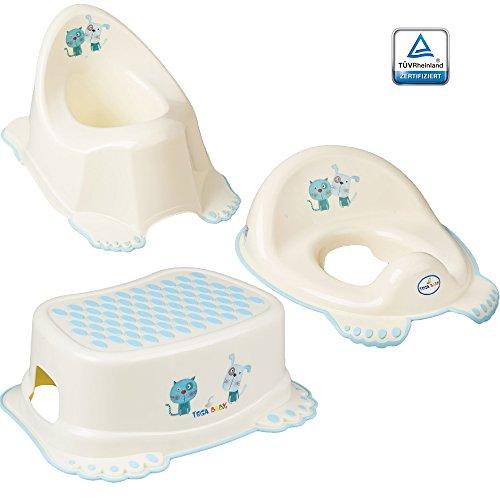 GoFuture 3er Set Toilettentrainer für Kinder – WC-Sitz + Töpfchen + Hocker für Jungen und Mädchen – Alle Teile (Kindertopf, Toilettensitz, Tritthocker) sind zertifiziert und TÜV geprüft Cat & Dog Weiß