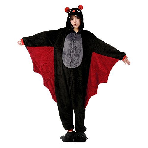 SHINA Pyjama Erwachsene Anime Cosplay Kostüm Kleidung Erwachsene Männer Frauen Frau Unisex Tier Schlafanzug Tieroutfit Tierkostüme Fledermaus (XL) (Machen Sie Eine Bat Kostüm)